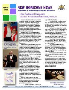 NEW HORIZONS NEWS A publication of the New Horizons International Music Association, Inc