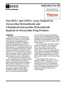 New HPLC and UHPLC Assay Methods for Tetracycline Hydrochloride and 4-Epianhydrotetracycline Hydrochloride Impurity in Tetracycline Drug Products