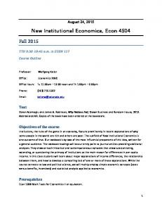 New Institutional Economics, Econ 4504