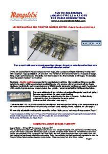 NEW INTAKE SYSTEMS JAGUAR E-TYPE 3.8 & 4.2 KITS FOR WEBER CARBURETTORS,