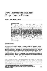 New International Business Perspectives on Pakistan