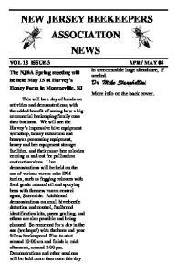 NEW JERSEY BEEKEEPERS ASSOCIATION NEWS