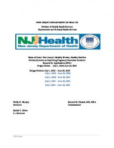 NEW JERSEY DEPARTMENT OF HEALTH Division of Family Health Services Reproductive and Perinatal Health Services