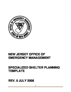 NEW JERSEY OFFICE OF EMERGENCY MANAGEMENT SPECIALIZED SHELTER PLANNING TEMPLATE