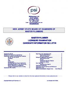 NEW JERSEY STATE BOARD OF EXAMINERS OF MASTER PLUMBER
