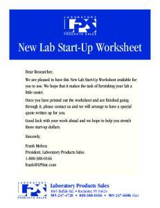New Lab Start-Up Worksheet
