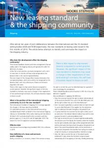 New leasing standard & the shipping community