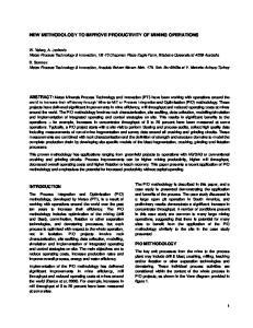 NEW METHODOLOGY TO IMPROVE PRODUCTIVITY OF MINING OPERATIONS