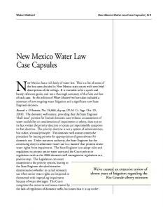New Mexico has a rich body of water law. This is a list of some of