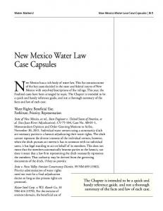 New Mexico has a rich body of water law. This list contains some