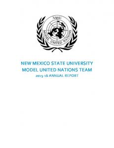 NEW MEXICO STATE UNIVERSITY MODEL UNITED NATIONS TEAM ANNUAL REPORT