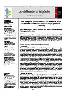 New mosquito species records for Ecuador, from Pululahua volcano (Andes) and Napo province (Amazon)