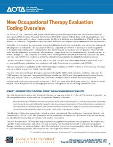 New Occupational Therapy Evaluation Coding Overview