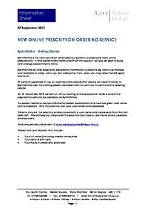 NEW ONLINE PRESCRIPTION ORDERING SERVICE
