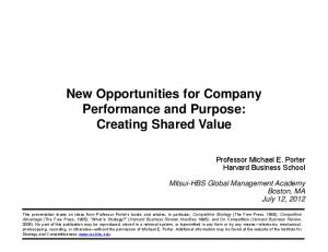 New Opportunities for Company Performance and Purpose: Creating Shared Value
