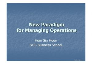 New Paradigm for Managing Operations