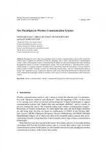 New Paradigms in Wireless Communication Systems