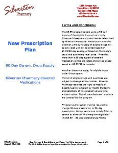 New Prescription Plan