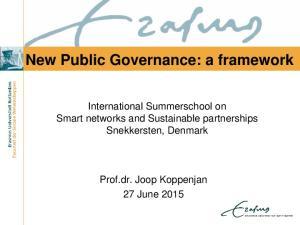 New Public Governance: a framework
