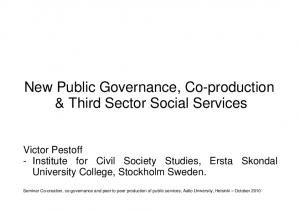 New Public Governance, Co-production & Third Sector Social Services