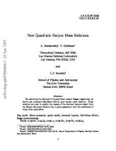 New Quadratic Baryon Mass Relations