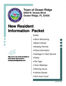 New Resident Information Packet