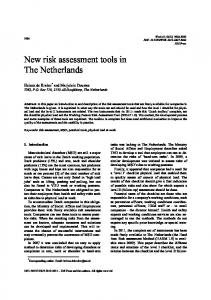New risk assessment tools in The Netherlands