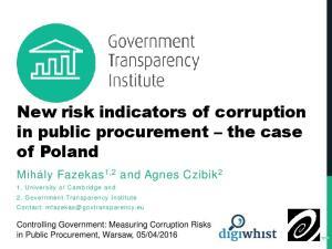New risk indicators of corruption in public procurement the case of Poland