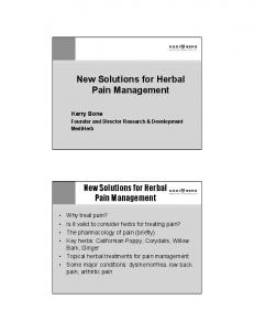 New Solutions for Herbal Pain Management