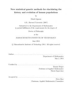 New statistical genetic methods for elucidating the history and evolution of human populations. Mark Lipson