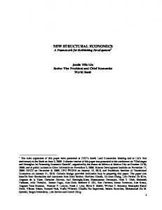 NEW STRUCTURAL ECONOMICS A Framework for Rethinking Development 1