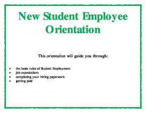 New Student Employee Orientation