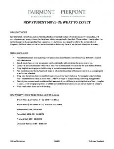 NEW STUDENT MOVE-IN: WHAT TO EXPECT