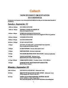 NEW STUDENT ORIENTATION 2014 SCHEDULE