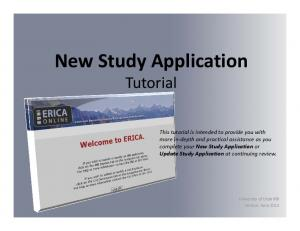 New Study Application Tutorial