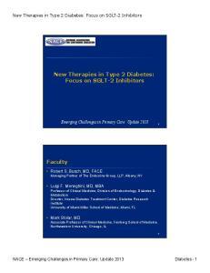 New Therapies in Type 2 Diabetes: Focus on SGLT-2 Inhibitors