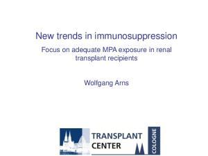 New trends in immunosuppression