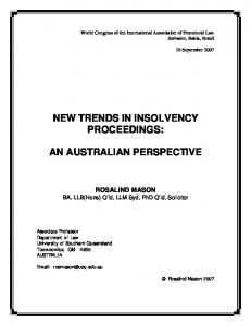 NEW TRENDS IN INSOLVENCY PROCEEDINGS: AN AUSTRALIAN PERSPECTIVE