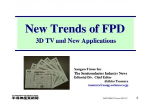 New Trends of FPD. 3D TV and New Applications