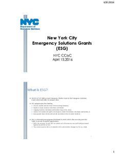 New York City Emergency Solutions Grants (ESG)