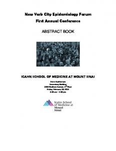 New York City Epidemiology Forum First Annual Conference