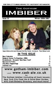 NEW YORK CITY S AWARD-WINNING FREE INDEPENDENT BEER MAGAZINE. Issue 22 Winter