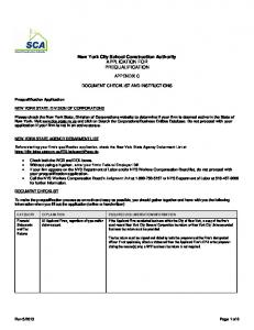 New York City School Construction Authority APPLICATION FOR PREQUALIFICATION