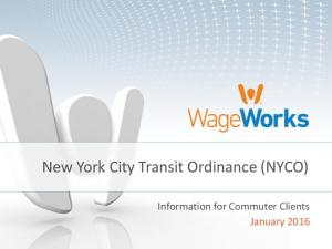 New York City Transit Ordinance (NYCO) Information for Commuter Clients January 2016