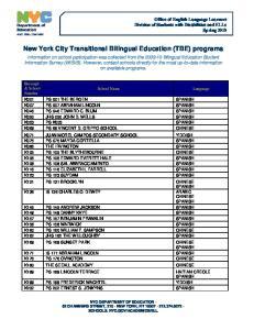New York City Transitional Bilingual Education (TBE) programs
