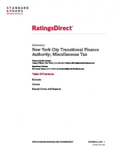 New York City Transitional Finance Authority; Miscellaneous Tax
