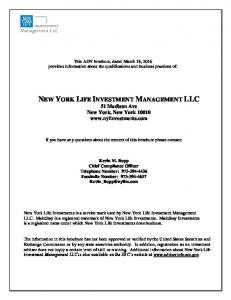 NEW YORK LIFE INVESTMENT MANAGEMENT LLC 51 Madison Ave New York, New York
