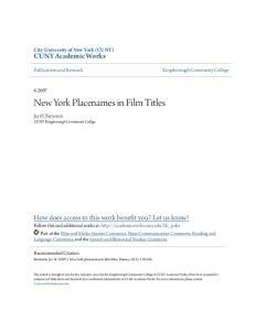 New York Placenames in Film Titles