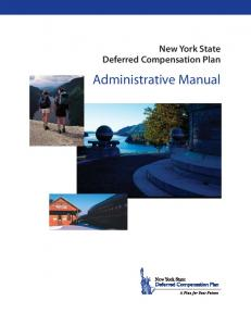 New York State Deferred Compensation Plan. Administrative Manual