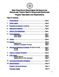 NEW YORK STATE DEPARTMENT OF EDUCATION DRIVER AND TRAFFIC SAFETY EDUCATION GUIDELINES